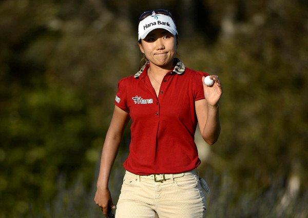 I.K. Kim reacts after finishing with a bogey at No. 18 during the final round of the Kia Classic in Carlsbad last month.