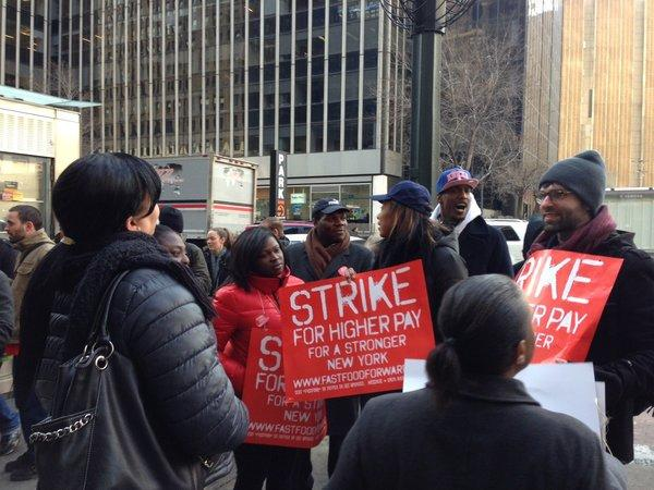 Fast food workers outside a Wendy's in New York City.