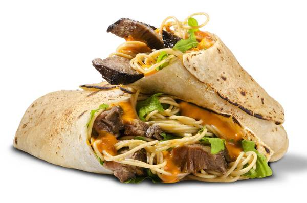 A grilled sirloin piadina stuffed with pasta and lettuce at Italio Modern American Kitchen.
