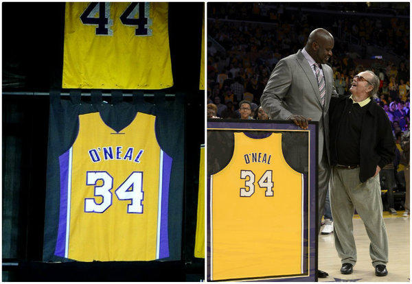 The version of Shaquille O'Neal's jersey revealed near the rafters of Staples Center, left, was slightly different from the one he poses with at right, with Jack Nicholson far right.