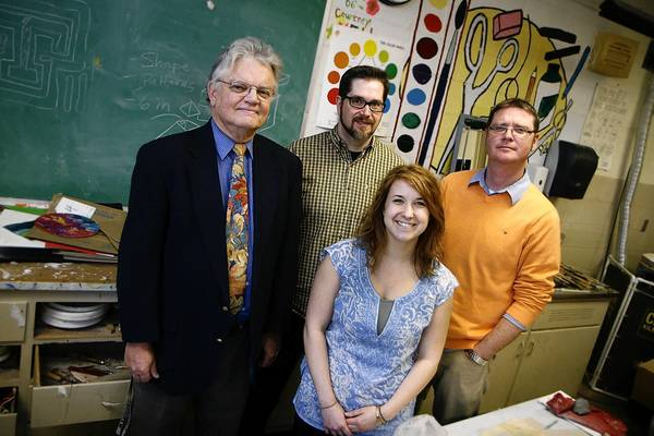 "Judith Lowery/Daily Press Four Kecoughtan High School art teachers are featured in a current juried exhibition, ""Artists Who Teach"" at the Charles H. Taylor Arts Center. From left, Tom Cutshaw, Scott Stanard, Emily Marshall, Jeff Burns."