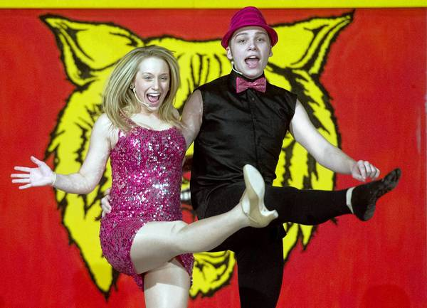 Peter Loikits as Ryan Evans and Maddie Colaiezzi as Sharpay Evans in the Allentown Central Catholic production of 'Disney's High School Musical,' running Friday through Sunday.