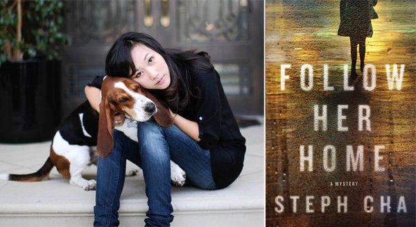 "Author Steph Cha and the cover of her novel, ""Follow Her Home""."