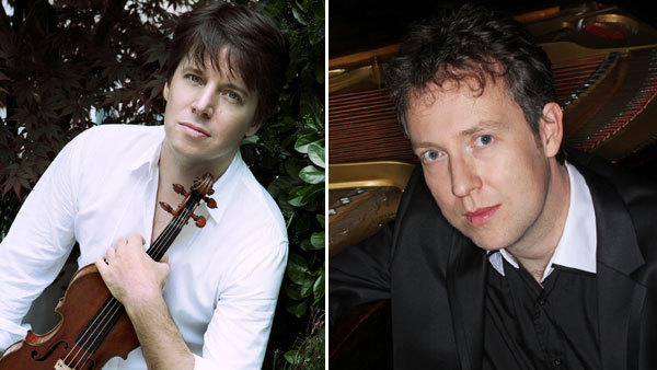 Violinist Joshua Bell, left, and pianist Sam Haywood gave a private performance for Van Cliburn days before his death.