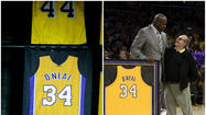 When you're retiring a fellow's jersey, make sure all your I's are dotted and all your Vs crossed -- that's the takeaway lesson from Tuesday's ceremony honoring former Los Angeles Laker Shaquille O'Neal, which saw his name and number 34 unveiled high above the Staples Center crowd -- on the wrong side of a jersey.