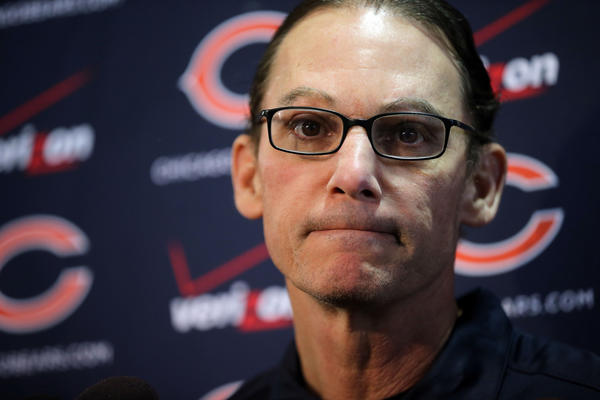 Chicago Bears head coach Marc Trestman speaks to the members of the media Feb. 14, 2013 in the Walter Payton Center at Halas Hall. (Brian Cassella/Chicago Tribune)