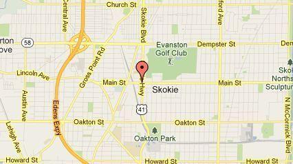 Map of Skokie Boulevard and Main Street in Skokie.