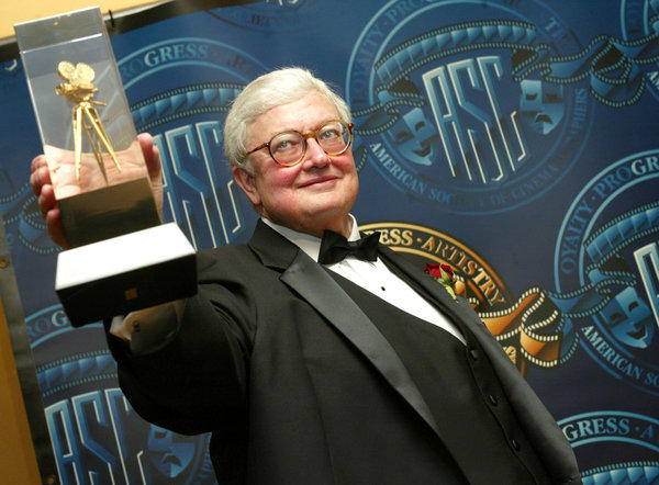 Roger Ebert receiving a special award of recognition at the American Society of Cinematographers in 2003 in Los Angeles.