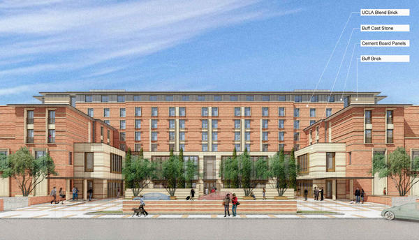 An artist's rendering of the conference center and 250-room hotel planned for the heart of the UCLA campus.