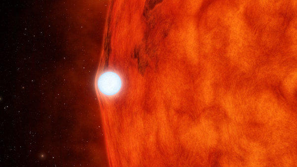 An artist's rendering shows light from a red dwarf star being bent by a denser white dwarf.