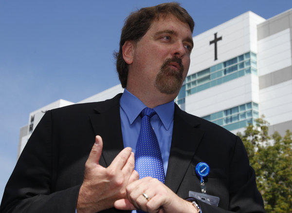 Dr.Michael S. Ritter briefs the media at Mission Hospital where authorities brought missing hiker Nicholas Cendoya,19.