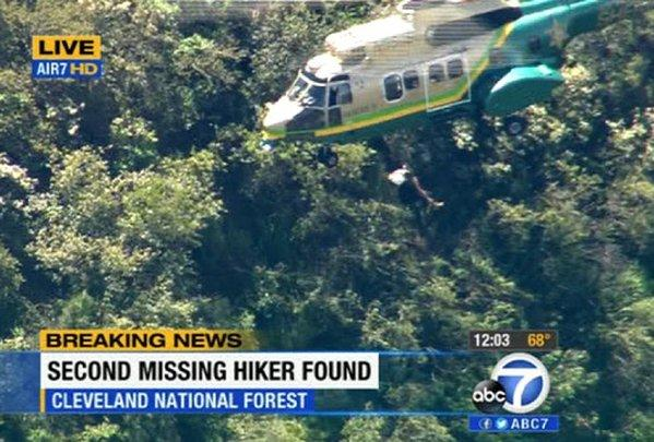 A photo provided by KABC-TV shows the helicopter rescue of Kyndall Jack