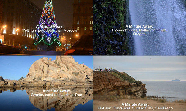 "As these screen grabs suggest, the new travel video series ""A Minute Away"" will go all over."