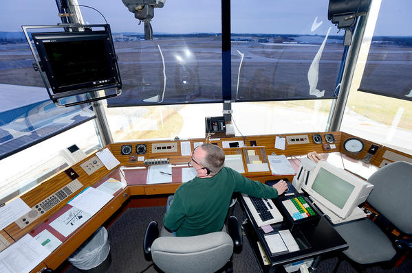 A view from inside The Hagerstown Regional Airport control tower facing the terminal.
