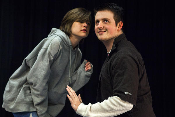 "Carol Crosby (Eurydice) and Ryan Ziegler (Child/Lord of the Underworld) rehearse ""Eurydice."""