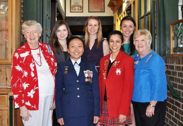 Members of the Don Jose Verdugo Chapter of the Daughters of the American Revolution recognized their Good Citizens. They are front row, from left, member Barbara Rogers, Gloria Han, recipient of Crescenta Valley High School, Jenna Gulick, recipient of Flintridge Sacred Heart Academy, and chapter Regent Elaine LaMarr; and back row, from left, Jenna El-Fakih, recipient of Clark Magnet High School, Jenna Galper, recipient of Flintridge Preparatory School, and Carly Moore, recipient of La Canada High School.