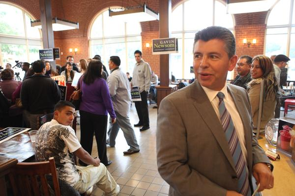 Abel Maldonado attends a press event held by by opposing candidate Gavin Newsom on Oct. 18, 2010, during the campaign for the job of lieutenant governor. Maldonado, a Republican from Santa Maria, lost to Newsom.