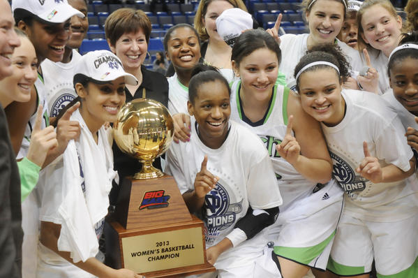 The Notre Dame women's team poses with the Big East trophy after beating UConn 61-59 in the final March 12.