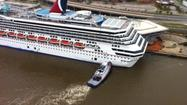 Rescuers called off the search for a missing shipyard worker who fell into the Mobile River after strong winds blew the beleaguered Carnival cruise ship Triumph off its moorings and into a pier.