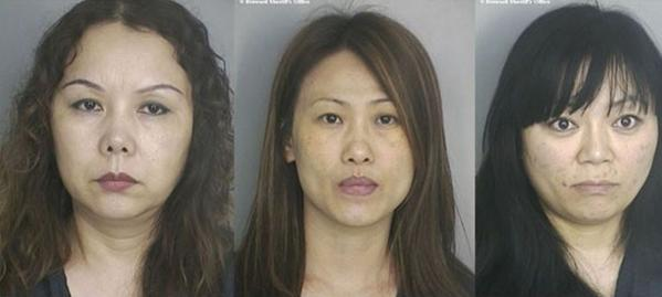 Yan Wang (left), Shu Yuan Nikki Sun, 42, and Ying Lulu Zhao, 37, was arrested at the MemeX Massage Parlor in Hallandale Beach as part of a prostitution investigation