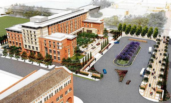 An artist's rendering of UCLA's proposed 250-room hotel and conference center.