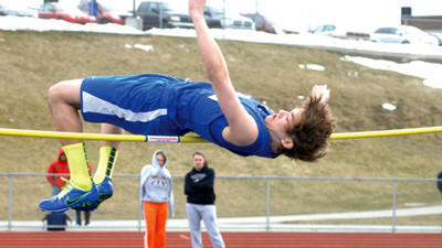 Berlin's Zane Yanosky clears the bar in an early high jump attempt during a track and field meet Thursday against visiting Meyersdale and Southern Fulton.