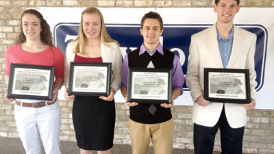 District 5 Athletic Director's Association scholarship winners are, from left: Blaire Lauthers, Fannett-Metal High School; Samantha Emert, Rockwood Area High School; Brock Medva, Shade-Central City High School; and Jacob Ashkettle, Southern Fulton High School.