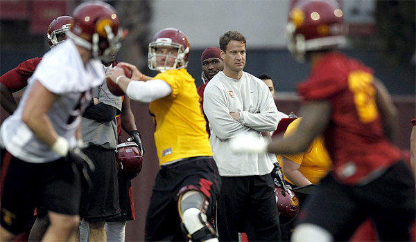 Coach Lane Kiffin has moved to make USC's spring practice more physical than it's been in the past, but for the second day in a row news from Trojans camp involves a player undergoing knee surgery.