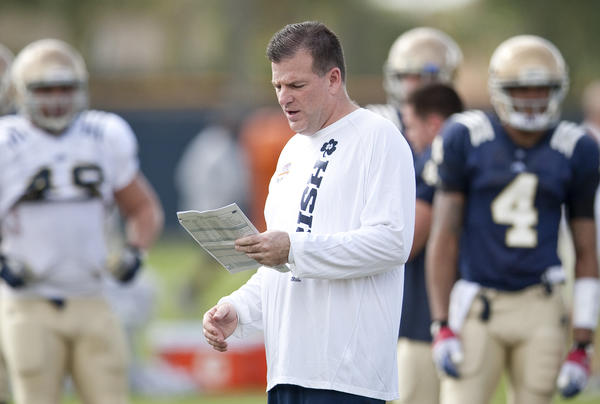 ND INSIDER: 1/6/2013: Notre Dame offensive coordinator Chuck Martin during Friday's practice at the Miami Dolphins training facility in Davie, FL, on Friday, December 4, 2013. Notre Dame will take on Alabama in the BCS National Championship game at Sun Life Stadium in Miami on Monday, January 7, 2013.