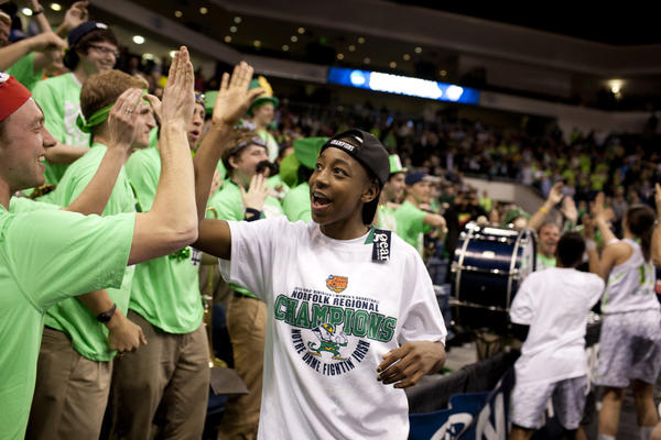 South Bend Tribune/JAMES BROSHER Notre Dame guard Jewell Loyd (32) celebrates with the band after defeating Duke in a women's NCAA college basketball quarterfinal on Tuesday, April 2, 2013, in Norfolk, Va. Loyd was named national freshman of the year on Thursday.
