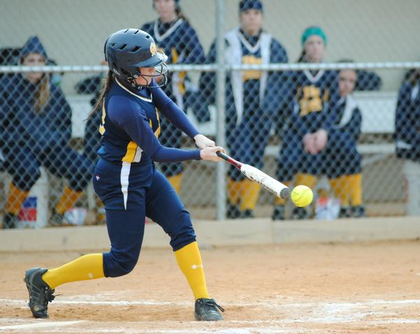 Greencastle-Antrim's Casey German connects with a Kim Rogers offering for a two-run triple in the third inning of the Blue Devils' game against Boiling Springs on Thursday.
