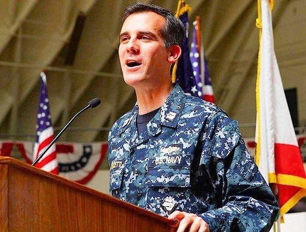 L.A. City Councilman Eric Garcetti wears his Navy uniform during a military-related event in 2012. The mayoral candidate's eight-year commitment to the Naval Reserve's intelligence service runs through the end of the year. He would like to extend it beyond that, if possible.