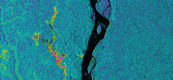 UAVSAR collected this image of the Napo River in Ecuador and Peru. The colors indicate the likelihood of flooding beneath the forest canopy. Red and yellow indicate areas that are likely to flood, while blue and green show areas less likely to be inundated. Black indicates the river itself.