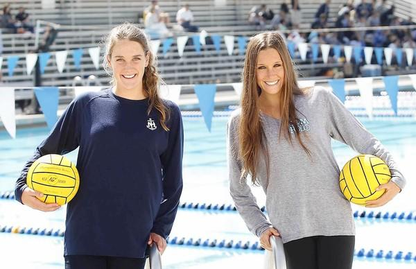 Newport Harbor High goalie Cleo Harrington, left, and Corona del Mar High senior Cassidy Papa are Co-Players of the Year for the Daily Pilot Girls' Water Polo Dream Team.