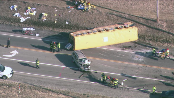 Scene of bus crash in Lake County.