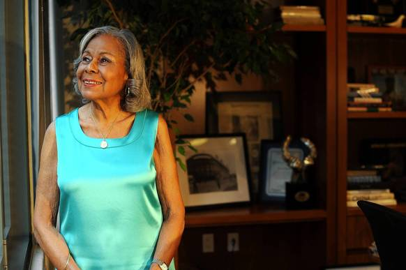 Rachel Robinson, the widow of Jackie Robinson, in her office at the Jackie Robinson Foundation in Manhattan, NY.