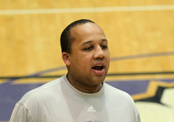 Northwestern assistant basketball coach Tavaras Hardy (center) during a 2011 practice.