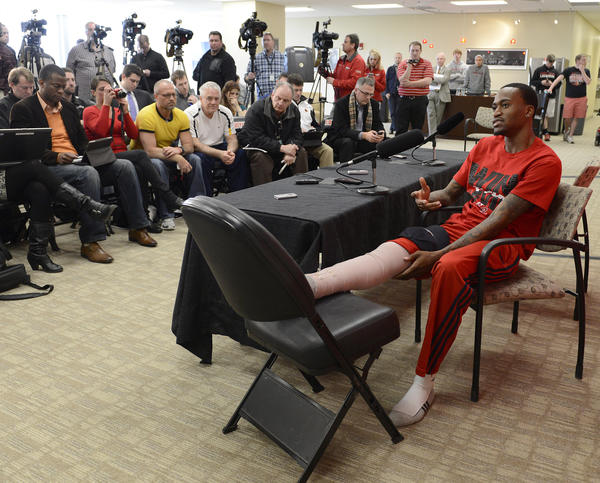 University of Louisville basketball player Kevin Ware answers questions during a news conference at the school's KFC Yum! Center practice facility.