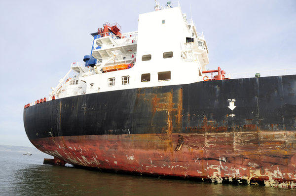 Damage is seen to the tanker Overseas Reymar following a collision with a tower of the San Francisco-Oakland Bay Bridge.