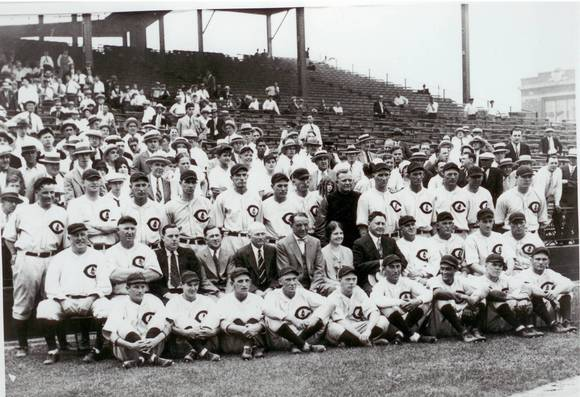 Chicago Cubs president William Veeck takes a team photo with the Cubs team at Wrigley Field
