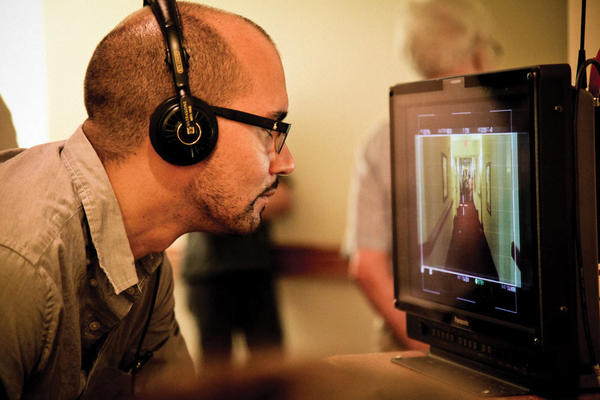 """Director Alonso Mayo checks the framing for a shot. His film, """"The Story of Luke"""" will be part of the Maryland International Film Festival-Hagerstown"""