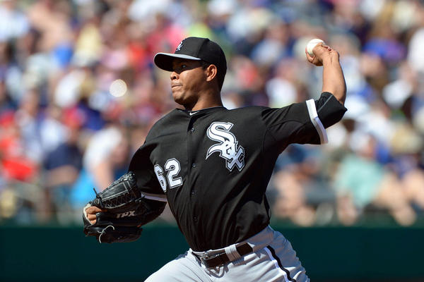 Chicago White Sox starting pitcher Jose Quintana pitches during a spring training game.