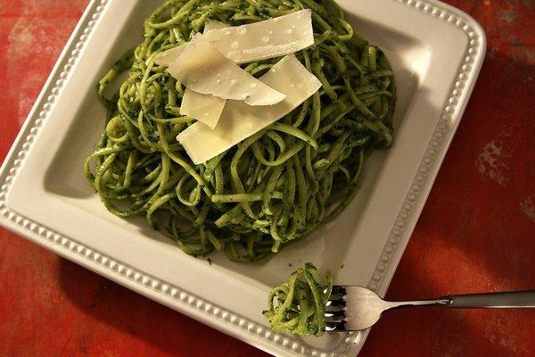 "Dandelions give this pesto a little more ""bite."" It's perfect for pasta, or used as a dip with crostini or vegetables."