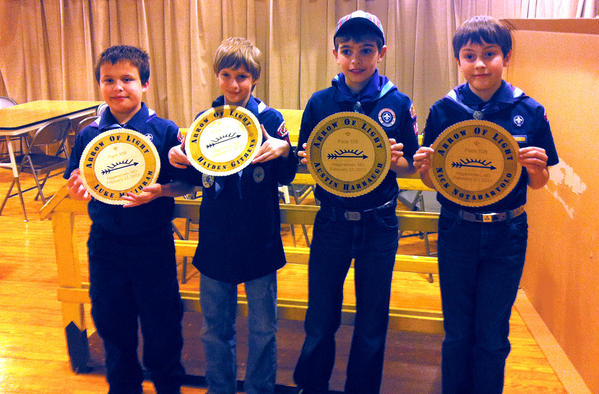 On Feb. 23, the Webelos Scouts from Pack 108 in Old Forge received the Arrow of Light award. From left, Luke Milihram, Hayden Githens, Austin Harbaugh and Nick Notabartolo. Missing from the picture is Joshua Hood.