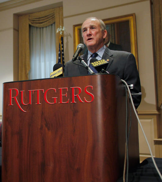 Rutgers University President Robert Barchi addresses the media Friday.