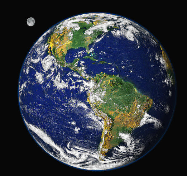 This image of Earth was generated by researchers in the Laboratory for Atmospheres at NASA's Goddard Space Flight Center in Greenbelt, Md., using data from three different satellite instruments.