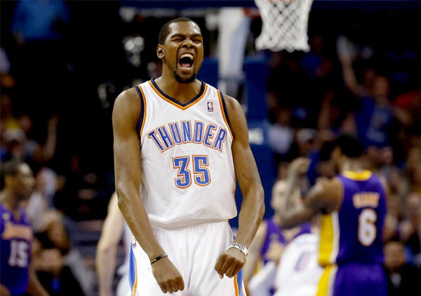 Thunder forward Kevin Durant (35) celebrates a basket against the Lakers.