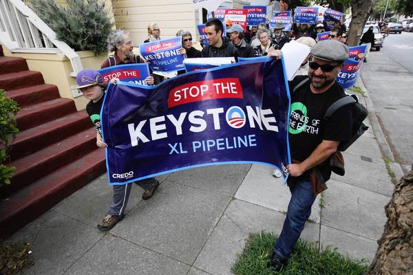 Protesters in San Francisco rally against the proposed Keystone XL pipeline from Canada.