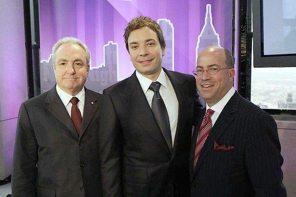 Lorne Michaels, left, Jimmy Fallon and then NBC President Jeff Zucker in 2008.
