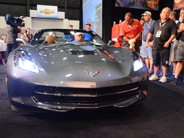 A pre-production Chevrolet Corvette Stingray convertible at Friday's Barrett-Jackson auction in Palm Beach, Fla. Proceeds from the sale will go to the Barbara Ann Karmanos Cancer Institute.